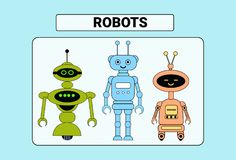 Set Of Cute Robots Cartoon Robotic Character Vintage Icon. Vector Illustration Stock Photo
