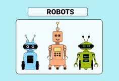 Set Of Cute Robots Cartoon Robotic Character Vintage Icon. Vector Illustration Royalty Free Stock Photography