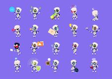 Set Of Cute Robots Icons  On Blue Background Modern Technology Artificial Intelligence Concept Stock Image