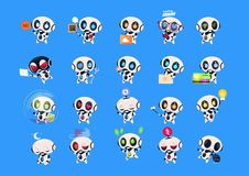 Set Of Cute Robots Icons Isolated On Blue Background Modern Technology Artificial Intelligence Concept. Vector Illustration Stock Image