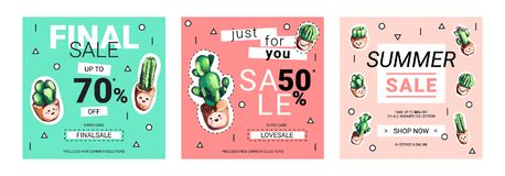 Set of cute sale banners with embroidery cactus. Business offer for social media, email newsletter or web ads. Fun design in pastel colors and cartoon style Stock Photos