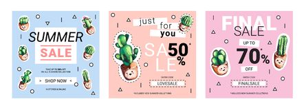 Set of cute sale banners with embroidery cactus. Business offer for social media, email newsletter or web ads. Fun design in pastel colors and cartoon style Royalty Free Stock Photo