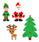 Set of cute santa claus, elf, christmas tree and reindeer. Set of cute santa claus, elf, christmas tree and reindeer isolated on white stock illustration
