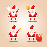 Set of Cute Santa Clauses.Cartoon styles for christmas. Royalty Free Stock Photography
