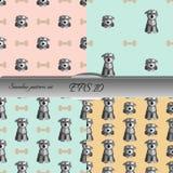 Set of cute schnauzer seamless patterns. Nice hand-drawn illustration Stock Photo