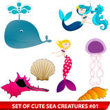 Set of cute sea creatures Stock Images