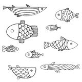 Set of cute sea fish. Vector illsutration Stock Photos