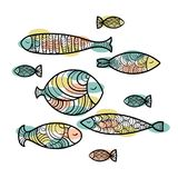 Set of cute sea fish. Vector illustration Royalty Free Stock Images