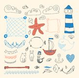 Set cute sea objects collection. Royalty Free Stock Images