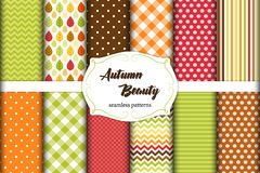 Set of 12 cute seamless Autumn Beauty patterns with leaves, polka dots. stripes, chevron and plaid Royalty Free Stock Image