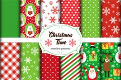 Set of 11 cute seamless Christmas Time patterns with traditional ornaments Stock Image