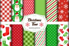 Set of 12 cute seamless Christmas Time patterns with traditional ornaments Royalty Free Stock Images