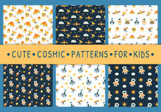 Set of cute seamless cosmic patterns for kids Stock Photography