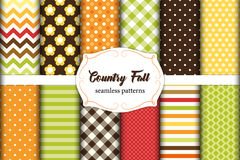 Set of 12 cute seamless Country Fall patterns with primitive flowers, polka dots, stripes, chevron and plaid Stock Photography