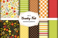 Set of 12 cute seamless Country Fall patterns with primitive flowers, polka dots, stripes, chevron and plaid Stock Photos