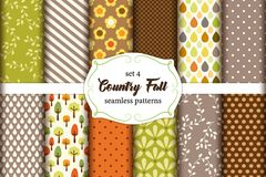 Set of 12 cute seamless Country Fall patterns with primitive ornaments Royalty Free Stock Photo