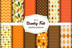 Set of 12 cute seamless Country Fall patterns with primitive ornaments Stock Photo