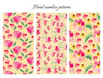 Set of cute seamless floral patterns. Vintage backgrounds with pink flowers. Vector illustration. May be used for design fabric, wrapping paper, covers Royalty Free Stock Photos