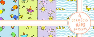 Set of cute seamless kids patterns with funny cartoons. Stock Images