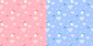 Set of cute  seamless pattern with baby bottle, pacifier, heart. On blue and pink background for boy and girl. Endless texture. Background for web, covers royalty free illustration