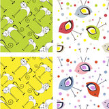 Set of cute seamless patterns Royalty Free Stock Photo