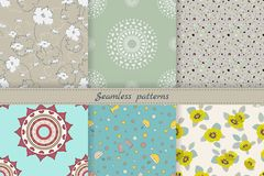 Set of cute seamless patterns. Endless texture for wallpaper, fill, web page background, fabric,covers. Different themes:floral,. Mandala,funny for children stock illustration
