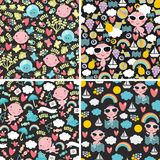 Set of cute seamless patterns with happy babies. Royalty Free Stock Image