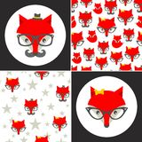 Set of cute seamless patterns with hipster fox. Stock Image