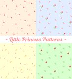 Set of cute seamless patterns for little princess. Good for baby, birthday, scrapbook, surface textures, greeting cards, gift wrap. Layered for easy Royalty Free Stock Photography