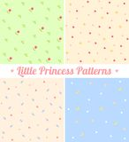 Set of cute seamless patterns for little princess. Good for baby, birthday, scrapbook, surface textures, greeting cards, gift wrap. Layered for easy Stock Images