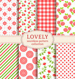 Set of cute seamless patterns. Vector backgrounds.