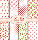 Set of cute seamless patterns. Vector backgrounds. Stock Images