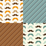 Set of cute seamless retro Father`s day patterns. With mustaches and stripes Stock Photo