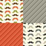 Set of cute seamless retro Father`s day patterns. With mustaches and stripes Royalty Free Stock Photography