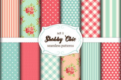 Set of 12 cute seamless Shabby Chic patterns  Royalty Free Stock Photography