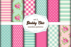 Set of 12 cute seamless Shabby Chic patterns  Stock Photography