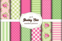 Set of 12 cute seamless Shabby Chic patterns with roses, polka dots. stripes and plaid Royalty Free Stock Photos