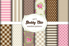 Set of 12 cute seamless Shabby Chic patterns with roses, polka dots. stripes and plaid Stock Images
