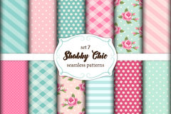 Set of 12 cute seamless Shabby Chic patterns with roses, polka dots. stripes and plaid Stock Photography