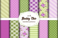 Set of 12 cute seamless Shabby Chic patterns with roses, polka dots. stripes and plaid Stock Photos