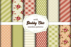 Set of 12 cute seamless Shabby Chic patterns with roses, polka dots. stripes and plaid Stock Image