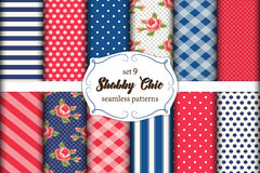 Set of 12 cute seamless Shabby Chic patterns with roses, polka dots. stripes and plaid Royalty Free Stock Images