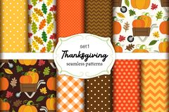 Set of 10 cute seamless Thanksgiving patterns with pumpkins, polka dots, stripes, chevron and plaid. Set of 10 cute seamless Thanksgiving patterns ideal for royalty free illustration
