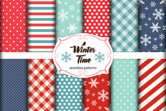 Set of 12 cute seamless Winter Time patterns with traditional ornaments. Ideal for your decoration as wrapping paper, scrap booking, fabrics design etc Royalty Free Stock Photography