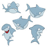 Set of cute sharks for you design. Cartoon Royalty Free Stock Photography