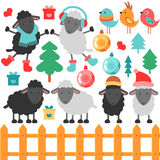 Set of cute sheep and christmas elements Royalty Free Stock Photography