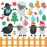 Set of cute sheep and christmas elements. Set of cute sheep and various christmas elements vector illustration