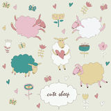 Set of cute sheep Royalty Free Stock Photos