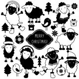 Set of cute sheep in winter clothes and christmas elements Stock Image
