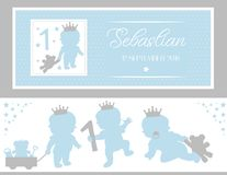Set of cute silhouettes. Little prince party baby shower, baptism, birthday. Crawling toddler with teddy. Standing baby, toys and bear. Template design. Vector Royalty Free Stock Image